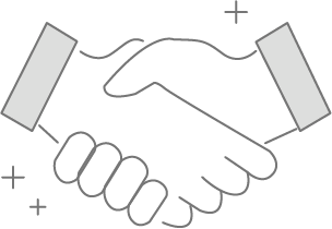 Candidature et admission chez EcoSup Tourisme : Dessin de deux personnes qui se serrent la main